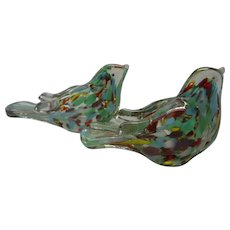 Vintage Set of 2 Art Glass Paperweight Birds, Wales, Made in Japan