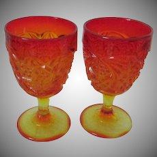 Vintage Amberina Orange Yellow Goblets, Glasses, Set of 2