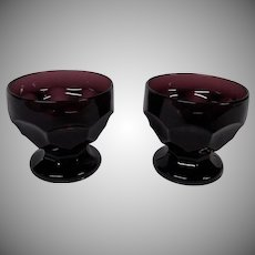 Vintage Amethyst Glass Custard Dishes, Set of 2