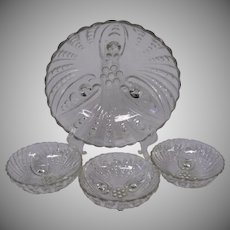 Anchor Hocking Four Piece Clear Berry Bowl Set in Burple Pattern