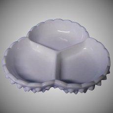 Fenton Hobnail Milk Glass 3 Part Relish Dish For Any Holiday