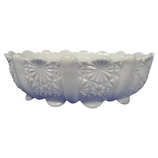 Vintage White Milk Glass Oval Shaped Bowl
