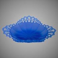 Vintage Westmoreland Lace-Edged Satin Blue Dish or Basket