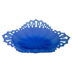 Vintage Westmoreland Lace-Edged Satin Blue Dish or Basket
