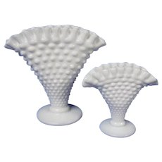 Pair of Fenton Ruffled Milk Glass Fan Vases in Hobnail Pattern
