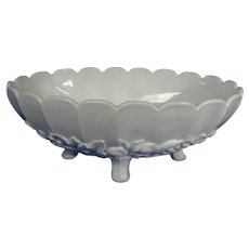 Vintage White Milk Glass Banana or Fruit Bowl by Indiana Glass