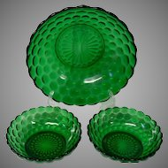 Anchor Hocking Emerald Green 3 Piece Berry Bowl Set, Bubble Pattern