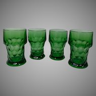Anchor Hocking Emerald Green Glasses, Set of 4 in Georgian Pattern