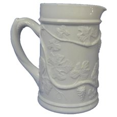 Fenton Milk Glass Pitcher, Grapes and Leaves Pattern