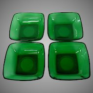 Vintage Anchor Hocking Emerald Green Sauce Dishes, Set of 4