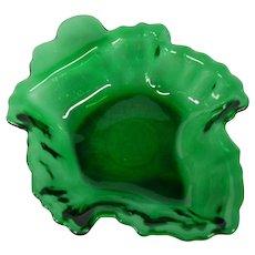 Vintage Emerald Green Leaf Shaped Glass Dish