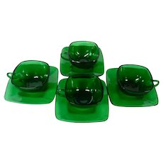 Anchor Hocking Emerald Green Square Cups and Saucers, Set of 4