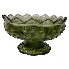 Fenton Vintage Avocado Glass Flower and/or Candle Holder
