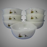 Fire King B.C. Comic Strip Milk Glass Cereal Bowls, Set of 7, Anchor Hocking