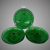 Anchor Hocking Emerald Green 3 Footed Bowls in Burple Pattern, Forest Green, Set of 3