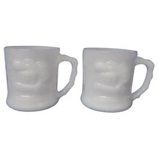 B.C. Comic Strip Milk Glass GROG Mugs, Set of 2