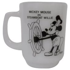 Anchor Hocking Milk Glass Mug of Disney's Steamboat Willie / Mickey Mouse for Pepsi Collector's Series