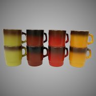 Fire King Set of 8 Colorful Vintage Coffee Mugs