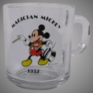 Anchor Hocking Pair of Mickey Mouse Glass Mugs, Magician Mickey and Band Leader Mickey, Set of 2 Mugs