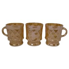 Vintage Fire King Peach Lustre Mugs, Set of 3 in Kimberly Diamond Pattern