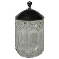 Final Markdown - Unusual Glass Sugar Bowl with Heavy Lid, Marked