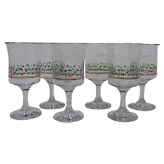 Holiday Stemware Set of 6 Glasses, Arby's 1986 Christmas Collection, Holly and Berries