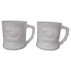 B.C. Comic Strip Milk Glass GROG Mugs, Set of 2 White Mugs