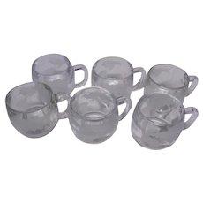 Nestle Nescafe World Map Mugs, Set of 6 Clear Mugs, 1970's