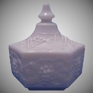 Vintage Milk Glass Candy Dish With Imperial Glass Grape & Cable Pattern
