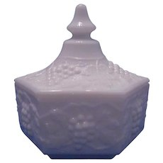 Final Markdown - Vintage Milk Glass Candy Dish With Imperial Glass Grape & Cable Pattern