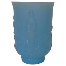Fenton Peking Blue Empress Vase