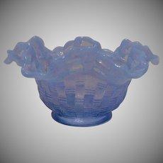 Fenton Blue Basketweave Bowl