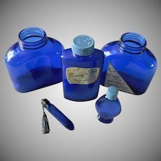 Evening in Paris Blue Glass Perfume and Talc Bottle Collection ~ FINAL REDUCTION!