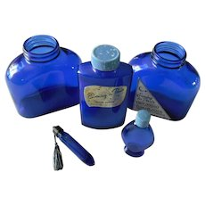 Evening in Paris Blue Glass Perfume and Talc Bottle Collection ~ REDUCED ~ 1/2 OFF!