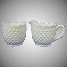 Fenton Milk Glass Large Creamer and Sugar, Hobnail Pattern