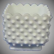Vintage Fenton Milk Glass Hobnail Planter
