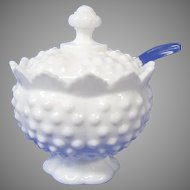 Final Markdown - Fenton Milk Glass Hob Nail Jam Pot with Spoon