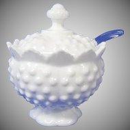 Fabulous Fenton Milk Glass Hob Nail Jam Pot with Spoon