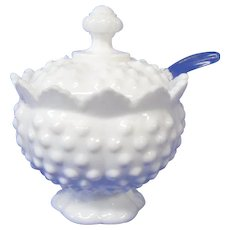 Final Markdown - Fenton Milk Glass Hob Nail Jam Pot with Spoon