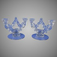 Pair of Clear Crystal Candlesticks by Cambridge Glass Company