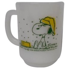 Final Markdown - Fire King Irked Snoopy Vintage Milk Glass Mug or Coffee Cup