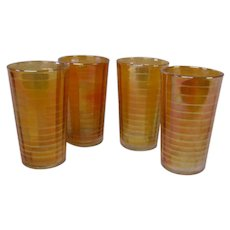Set of 4 Marigold Carnival Glasses or Tumblers by Indiana Glass Co.