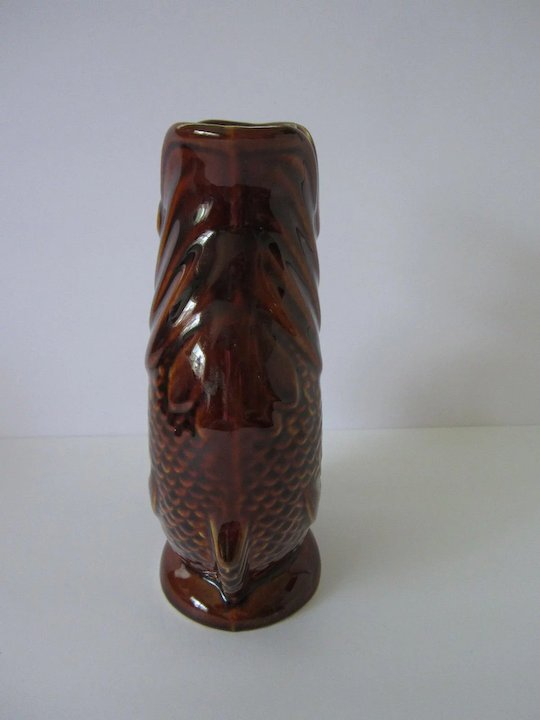 Dartmouth Pottery Fish Shaped Brown Gurgle Jug Made In England