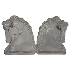 Vintage Clear Glass Horse Head Bookends, Decorative Mid Century Glass
