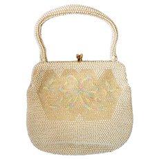 Vintage Lumured Petite Bead Ivory Purse Handbag with Pastel Accents