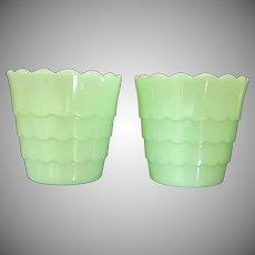 Vintage Pair of Jadeite Flower Pots with Ruffled Edge