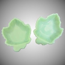 Fire King Jadeite Set of 2 Leaf Bowls, Small Serving Dishes ~ Reserved for Ken