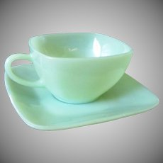Fire King Jadeite Tea Cup and Saucer Charm Pattern