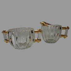 Vintage Jeanette Glass Creamer and Sugar Set, Clear Ribbed Glass with Gold Trim