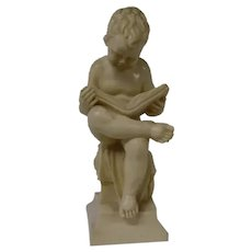 Young Boy Reading A Book Vintage Figurine, Made in Italy by Norleans Co.